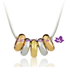 18K Three Tone Multi-GOLD GF Lucky FIVE RING Rings Pendant NECKLACE Gift ES539