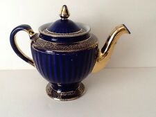 Vintage Hall USA 6 Cup Teapot Cobalt Blue with Gold   Ribbed  Los Angeles