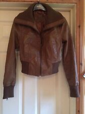 Ladies Leather Jacket size 12 light brown, fully lined good condition, stylish