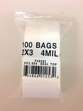 100 Small Resealable 2x3 Plastic Zip Lock Bags 4 Mil Food Safe Bags