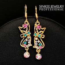 Cute Multicolor Zircon Cat Earrings Dangle For Women Girls Es451 18K Yellow Gold