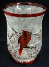 Cardinal Hurricane Glass Lantern Candle Holder - Comes with Free Soy Tealight