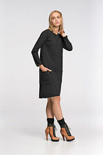 Womens Asymmetric Midi Dress With Pockets Tunic Crew Neck Plus Sizes 8-18 FA467