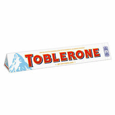 TOBLERONE WHITE Swiss Chocolate Bar with Honey & Almond Nougat 100g 3.5oz