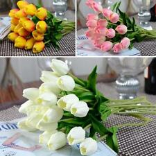 10pcs Tulip Artificial PU Fake Flower Wedding Party Home Decor Bridal Bouquet LO