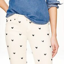 NWT J. Crew Embellished Toothpick Chevron Bead Skinny Jeans 32 NEW