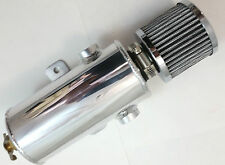 "Polished Aluminium Breather Tank Oil Puke Catch Can Tube with 3/8"" NPT Ports"
