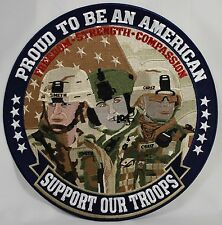 "PROUD TO BE AN AMERICAN-SUPPORT OUR TROOPS 12"" EMBROIDERED PATCH Cloth Badge NEW"