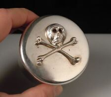 Antique Austria 1827 Silver Poison Box- Skull & Bones