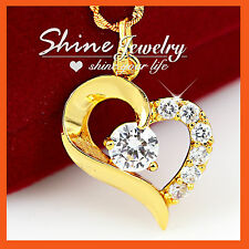 24K YELLOW GOLD FILLED CLASSIC DIAMOND HEART WEDDING SOLID NECKLACE PENDANT GIFT