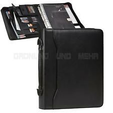 A4 Conference Folder 4 Ring Zipped Ringbinder with Handle Faux Leather black NEW