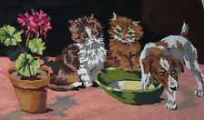 Large Completed Margot de Paris Creation French Needlepoint Cat Kitten&Puppy Dog