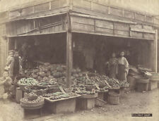 ORIGINAL VINTAGE HAND COLORED PHOTOGRAPH OF ASIAN FRUIT STAND W/ FAMILY
