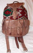 FAIR TRADE VINTAGE LEATHER & ANTIQUE KILIM BACKPACK/ RUCKSACK FROM MOROCCO