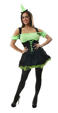 Black & Green Sexy Witch Womens Halloween Fancy Dress Costume Size 10 - 14 P8023