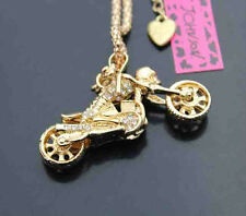 B560G   Betsey Johnson Skull Motorcycle Crystal Pendant Sweater Chain Necklace