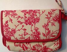 Serious Skin Care RED and CREAM TOILE MAKEUP BAG with MIRROR