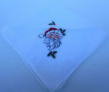 Vintage Santa Face Handkerchief Christmas Holiday Embroidered White Detailed