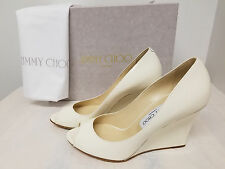 Jimmy Choo Baxen Patent Peep-Toe Wedge Pump Latte  Original:$599 +Tax. Size 38,5