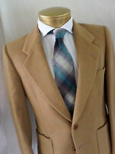 YVES SAINT LAURENT made France tan gray plaid felted wool side vent jacket 38S