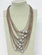 "17""-24"" 15row 14mm Gray pearls coffee leather necklace magnet clasp j8804"