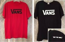 Lot 2 VANS Off The Wall Men's Graphic T-Shirts - Solid Red & Black - Size Medium