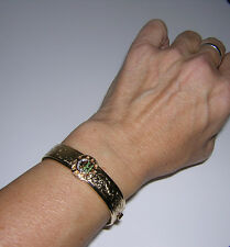 Bangle Gold BRACELET flowery etched/embossed Daughters REBEKAH IOOF Women's vtg