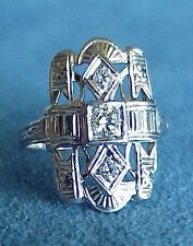 Fine! Antique ART DECO DIAMOND 18Kt White Gold North South Dinner RING Size 4