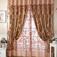 Modern Room Floral Tulle Door Window Curtains Balcony Sheer Panel Dual Drapes