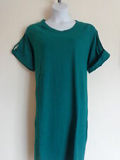 New Woman Within  Cotton Jersey S/S  A- Line Tee Shirt Dress Teal Green L 18-20W