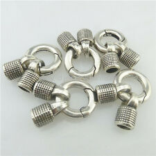 14-2x Snap Hook 16mm Smooth Lock Clasp End Cap Hole 4.8mm Connector Fit Bracelet