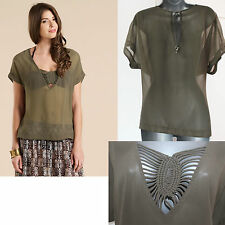 *MONSOON*Green/Khaki Maria Macrame Summer/Beach Kaftan Top sz-10/12 M £29