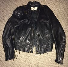 Vintage Black Leather WILSONS Biker/ Punk Rocker Coat Jacket- 42 Style 94155-