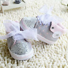 Toddler Baby Girl Gray Crib Shoes Soft Sole casual shoes Size 0-18 Months