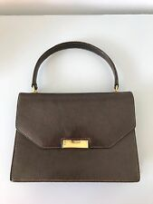 Gucci Brown Leather Vintage Handbag Purse Gold Clasp 1970s