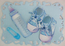 1 x Baby Boy Card topper for card making -New Baby Boy or Christening (Booties)