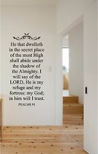 He that Dwelleth Psalms 91 Wall Sticker Wall Lettering Vinyl Decals Christian