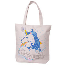 Unicorn Design Cotton Mix Bag zip and and lined for shopping, shoulder tote