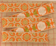 4 yards vintage padded woven french ribbon orange white green flower paisley 2""