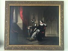 Original large 19th century fine art oil painting gothic interior scene