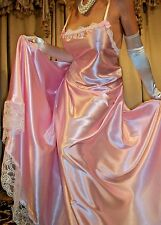 Vtg New Fair Pink Long Lace Slip Full Sweep Satin Nightgown Lingerie 2X 3X 46 48