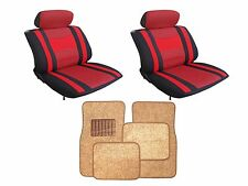 Mesh Red & Black Seat Covers with Taupe Carpet floor Mats for Cars SUVS- Combo