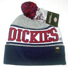 NWT Licensed Dickies Workwear Cuffed POM Beanie Hat Gray/Red Blue ___ Last Ones!