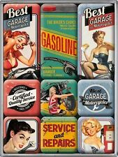 DECO : SET DE 9 MAGNETS : PIN-UP ET ENSEIGNE GARAGE POUR MOTOS VINTAGE