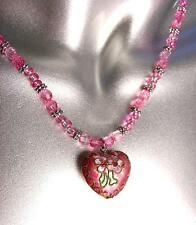 DECORATIVE Pink Multi Cloisonne Enamel Floral Heart Pendant Necklace