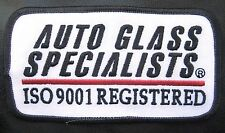 "AUTO GLASS SPECIALIST EMBROIDERED PATCH AUTO ISO 9001 REGISTERED 4 1/2"" x 2 1/2"""