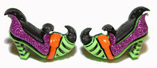 COLORFUL GLITTERY HALLOWEEN WITCH SHOES STUD EARRINGS (H137)