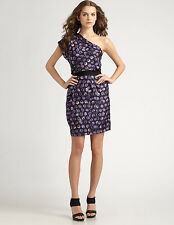 SACHIN + BABI ANKASA $565 purple picasso print one sleeve Frenchie dress 4 NEW
