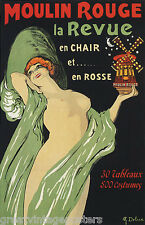 "WOMAN MOULIN ROUGE SHOW GIRL THEATER CABARET FRENCH VINTAGE POSTER REPRO 12""X16"""