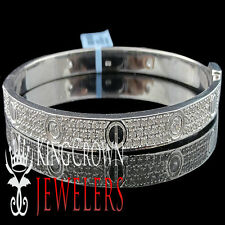 Real Sterling Silver Lab Diamond Bangle Style White Gold Finish Unisex Bracelet